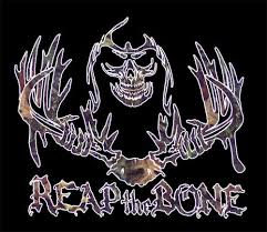 Camo Whitetail Deer Hunting Window Decal Reap The Bone Reaper Skull