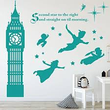 Adhesive Nursery Wall Decals Peter Pan Scene Silhouettes Wall Stickers Stars Big Ben Wall Art Decal For Kids Children Room Decor Wall Stickers Aliexpress