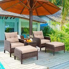 5 piece wicker patio furniture set