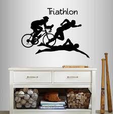 Wall Vinyl Decal Home Decor Art Sticker Triathlon Athletes Etsy