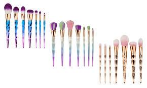 7 piece unicorn make up brush set