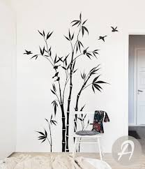 Bamboo Forest Wall Decal Art Bathroom White Design Shoot Murals Stickers Vamosrayos