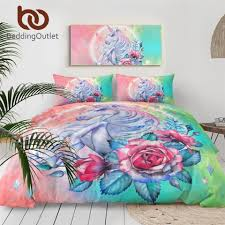 Beddingoutlet Unicorn Bedding Set Cartoon For Kids Rose Duvet Cover Girly Twin Bed Set Pink Blue Bed Cover Floral Home Textiles Wallcorners Art Canvas