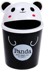 Amazon Com Toyvian Mini Trash Can With Lid Cute Animal Desktops Trash Can Rubbish Storage Garbage Bin For Office Kids Bedroom Use Panda Arts Crafts Sewing