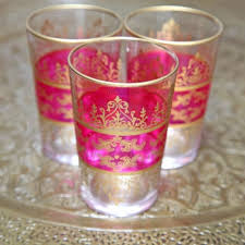 set of six moroccan tea glasses pink