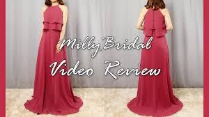 long a line chiffon burgundy wedding
