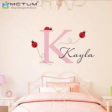 Modern Ladybug Wall Decal Personalized Initial Name Vinyl Wall Art Decals Removable Nursery Decoration House Decor Sticker Butterfly Decals For The Walldecal Skin Aliexpress