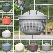 1 Flower Pot 2 Hooks With Drainage Hole Wall Hanging Garden Fence Balcony Basket Plastic Brand New Shopee Philippines