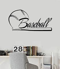 Vinyl Wall Decal Baseball Bat Word Sports Fan Stickers Mural Ig4168 Ebay