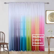 Amazon Com Pink Curtains Ombre Sheer Curtains Teenage Girls Bedroom Gradient Window Panel For Princess Toddler Baby Kids Room Nursery Living Room Closet Sheer Backdrop Curtain Set Party Drape 95 Inch Kitchen Dining