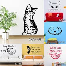 Alice In Wonderland We Are All Mad Here Cat Kitten Evil Wall Stickers Decal