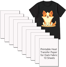 Amazon Com Printable Heat Transfer Paper Inkjet Printer Iron On Htv For Dark Fabric T Shirts Totes And Bags 7 9 X 11 8 Inch 10 Sheets Office Products