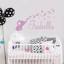 Elephant Decals Personalized Name Wall Decal Baby Girl Name Etsy