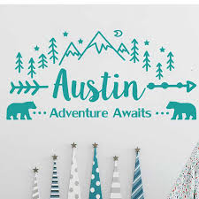 Adventure Awaits Wall Decal Personalized Vinyl Sticker Decals Custom Name Mountain Nursery Rustic Decor Kids Room Bedroom Y003 Wall Stickers Aliexpress
