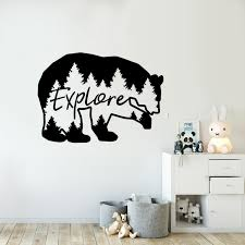 Explore Bear Wall Decal Travel Mountains Wall Mural Forest Theme Kids Room Decor Nature Beer Wall Sticker Nursery Art Ay1737 Wall Stickers Aliexpress