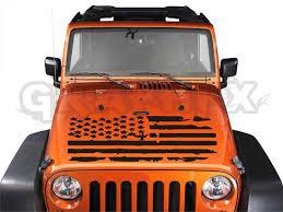 Vinyl Hood Decal For Jeep Wrangler Patriotic Distressed Etsy