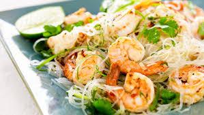 tiger prawns and thai noodle salad