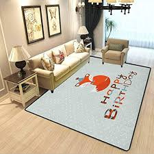 Amazon Com Birthday Kids Room Home Decor Carpet Cute Fox Sleeping On Dotted Backdrop With Greeting Happy Message Room Carpets Suitable For Children Bedroom Home Almond Green Orange White W6 5xl9 8 Feet Kitchen