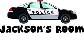 Amazon Com Boys Police Car Car Policemen Wall Decals Personalized Names Custom Name Create Quote Quotes Wall Decals Decal Stickers Sticker Vinyl Art Decor Kids Decoration For Bedroom Size 12x20 Inch Home