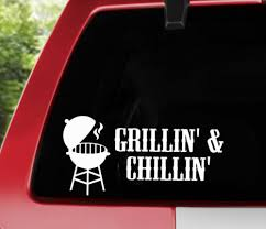 Decals Stickers Collectibles Bbq Smoker Lovers Grilling Vinyl Decal Car Truck Transportation Collectibles Grillin And Chillin Sticker Zsco Iq