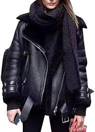 oberora women warm lapel faux fur lined
