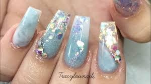 baby blue nails glitter acrylic