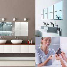 16 Sheets Flexible Mirror Sheets Mirror Wall Stickers Self Adhesive Plastic Mirror Tiles For Home Decor 6 Inch By 6 Inch Walmart Com Walmart Com
