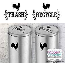 Amazon Com Rooster Trash And Recycle Vinyl Wall Decal Sticker For Metal Aluminum Steel Plastic Trash Cans Indoor Use Farmhouse Style Handmade