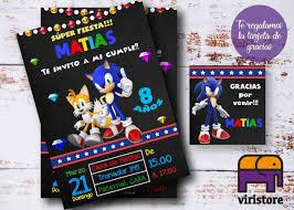 Invitacion Tarjeta Digital Cumpleanos Infantiles Sonic 199 00