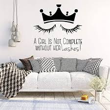 Amazon Com Pikat Vinyl Removable Wall Stickers Mural Decal Art Family Decals Lashes Crown For Girl Salon Decal Bedroom Living Room For Girl S Bedroom Home Kitchen