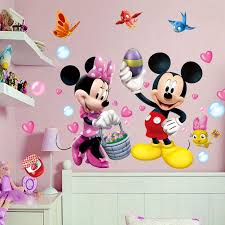 Super Deal C22d Cartoon Mickey Minnie Mouse Birds Wall Stickers Bedroom Kids Rooms Home Decorations Disney Wall Decals Pvc Mural Art Diy Posters Cicig Co