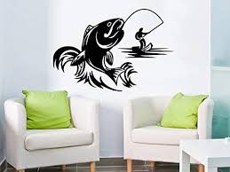 Amazon Com Fishing Male Hobbies Wall Decal Fish Nibble Wall Decals Vinyl Stickers Teens Nursery Baby Room Home Decor Art Bedroom Design Interior C479 Home Kitchen