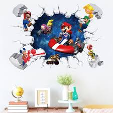 Super Sale 9d422c Cartoon Mario Bros Removable Wall Stickers Decals Kids Room Nursery Home Decor Mural For Boy Bedroom One Piece Mural Art Poster Cicig Co