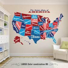 United States Map Decal Usa Map Sticker State Map Wall Mural Map Of Usa State Name Wall Decal Large American Map Wall Mural
