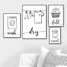 Wash Dry Fold Repeat Laundry Sign Black White Wall Art Print Canvas Painting Nordic Poster And Print Wall Pictures For Bathroom Wallcorners Art Canvas