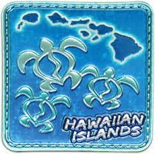 magnets honu islands map foil hawaii