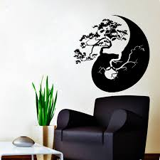 Tree Bonsai Yin Yang Pattern Art Designed Wall Sticker Home Livingroom Fashion Stylish Wall Murals Vinyl Removable Decal Wm 142 Stickers Home Designer Wall Stickerswall Sticker Aliexpress
