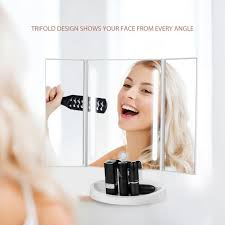 jerrybox trifold led makeup mirror with