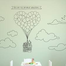 Doodled Scene Flying Heart Shape Balloon Up House Wall Decal Etsy Vinyl Art Stickers Balloon House Drawings