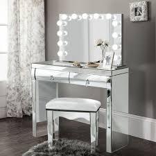 glam mirrored makeup vanity set