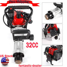 Gas Powered T Post Driver 2stroke 32 6cc Heavy Duty Gasoline Push Pile Pipe Driving Engine Single Cylinder Air Cooling Engine Post Driver For Farming Gardening Fencing Pipe Driving Demolition Drills Hammers Hammer Drills