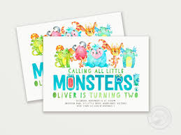 Little Monster Birthday Invitation First Birthday Monster Etsy