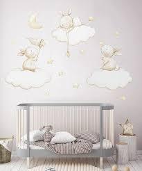 Fabric Wall Decal Bunnies Fishing Stars Nursery Wall Decal Etsy Nursery Wall Decals Art Wall Kids Baby Room Decor