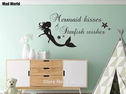 Mermaid Kisses And Starfish Wishes Mermaid Wall Art Stickers Wall Decal Home Diy Decoration Removable Room Decor Wall Stickers Wall Sticker Decorative Wall Stickerswall Art Stickers Aliexpress