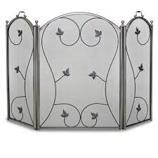 pewter 3 panel kentfield fireplace screen
