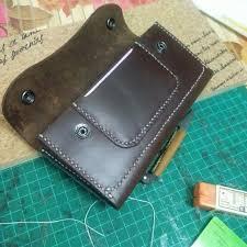 handmade custom leather trucker wallet