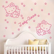 Hello Kitty 2 Angels With Wands Name And Stars Wall Sticker Decal Children Girl Kids Wall Decals Adesivo De Pa Kids Wall Decals Name Wall Stickers Wall Sticker
