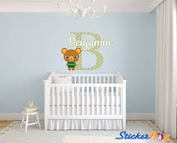 Polkadot Bear Name Monogram Nursery Room Vinyl Wall Decal Graphics Boys Girls Baby Bedroom Decor