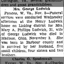 Obituary - Mary Adeline Phillips (Ludwick), died 11-3-41 ...