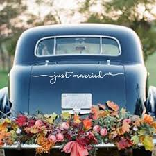Amazon Com Just Married Vinyl Decal Wedding Decor Wedding Car Sign 28x4 Inch Handmade